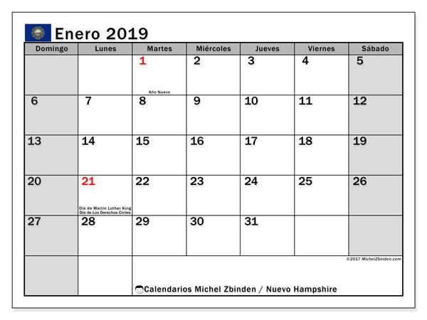 Calendario enero 2019, con los días feriados de Nuevo Hampshire. Calendario para imprimir gratis.