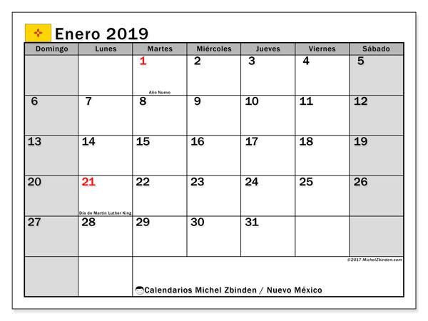 Calendario enero 2019, con los días feriados en Nuevo México. Calendario mensual para imprimir gratis.