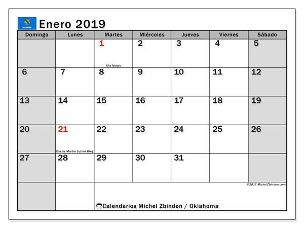 Calendario enero de 2019 - Oklahoma. Calendario para imprimir: fiestas oficiales y días feriados.