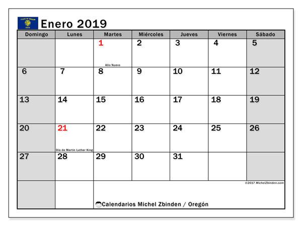 Calendario enero 2019, con los días feriados en Oregón. Calendario para imprimir gratis.