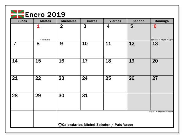 Calendario enero 2019, con los días festivos del País Vasco. Calendario gratuito para imprimir.