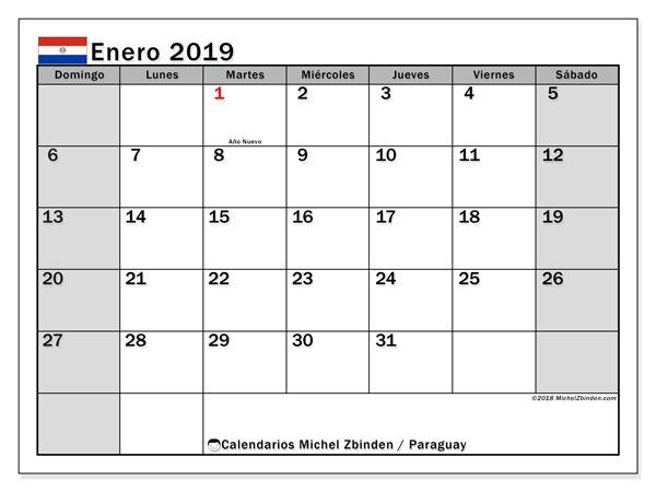 Calendario enero 2019, con los días feriados en Paraguay. Calendario para el mes para imprimir gratis.