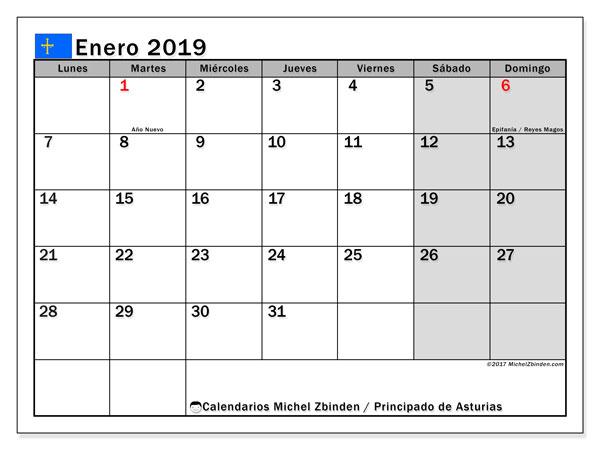 Calendario enero 2019, con los días festivos del Principado de Asturias. Calendario mensual para imprimir gratis.