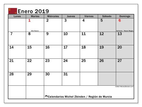 Calendario enero 2019, con los días festivos en la Región de Murcia. Calendario imprimible gratis.