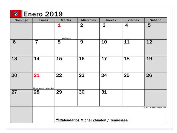 Calendario enero 2019, con los días feriados en Tennessee. Calendario para imprimir gratis.