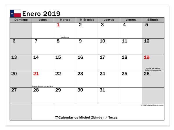 Calendario enero de 2019 - Texas. Calendario para imprimir: fiestas oficiales y días festivos.