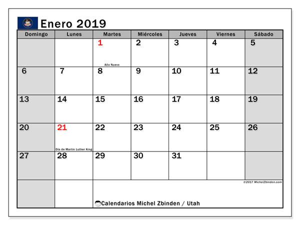 Calendario enero 2019, con los días feriados en Utah. Calendario para imprimir gratis.