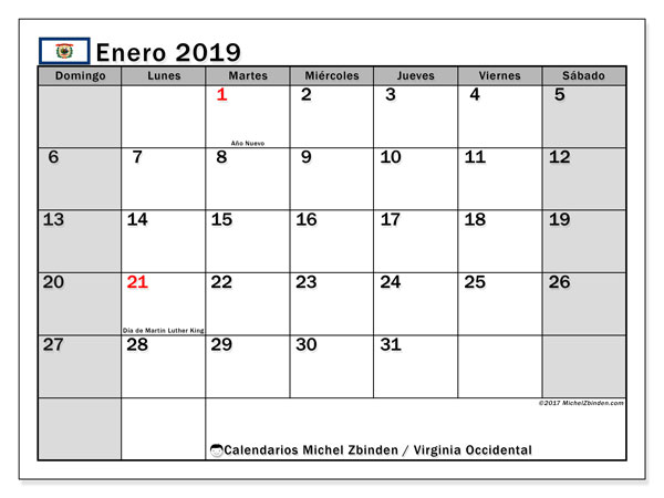 Calendario Virginia Occidental, enero 2019