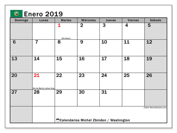 Calendario Washington, enero 2019