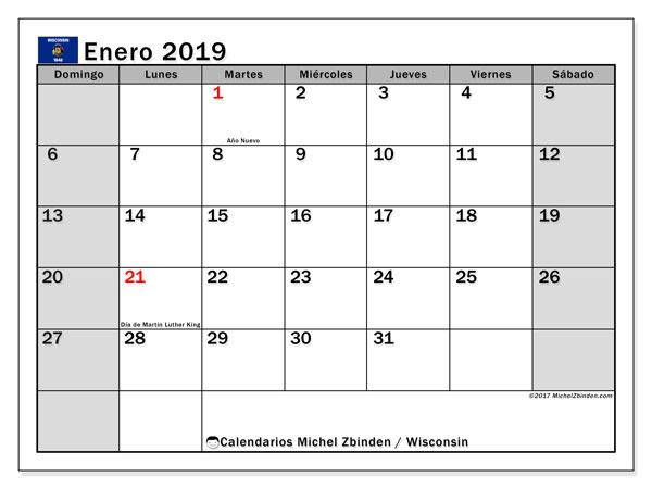 Calendario enero 2019, con los días feriados en Wisconsin. Calendario imprimible gratis.