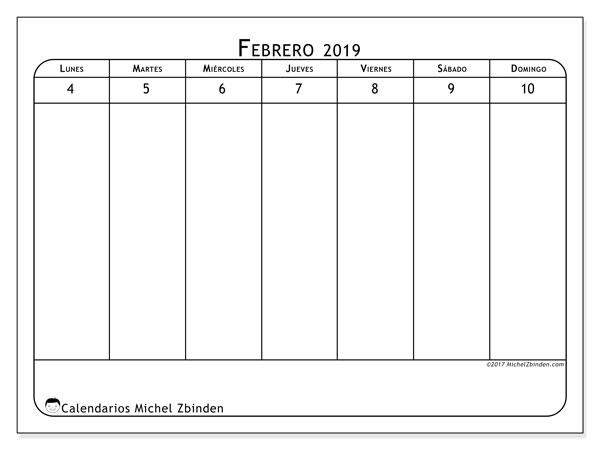 Calendario febrero 2019, 43-2LD. Calendario para el mes para imprimir gratis.