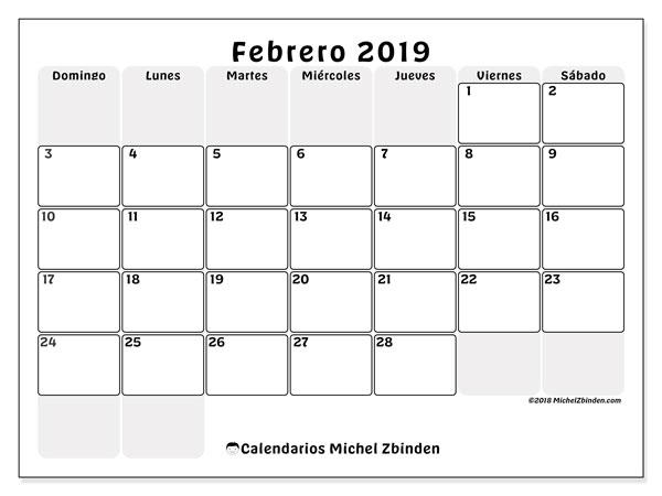 Calendario febrero 2019, 44DS. Planificación para imprimir gratis.