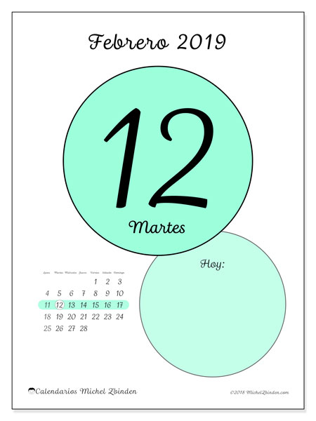 Calendario febrero 2019, 45-12LD. Calendario diario para imprimir gratis.