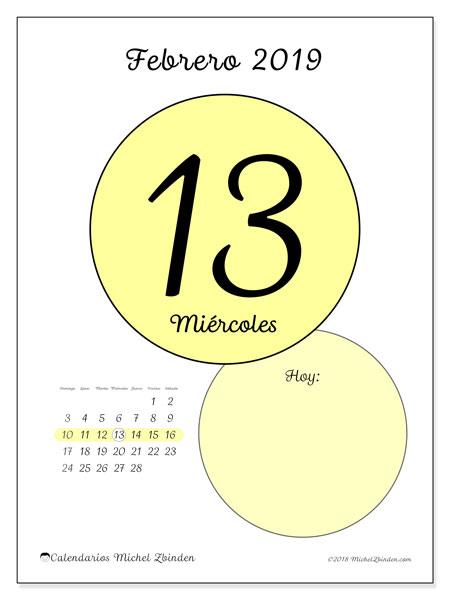 Calendario febrero 2019, 45-13DS. Calendario para el día para imprimir gratis.