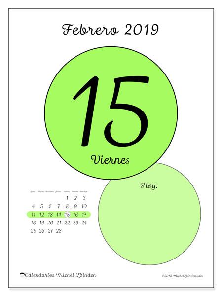 Calendario febrero 2019, 45-15LD. Calendario diario para imprimir gratis.