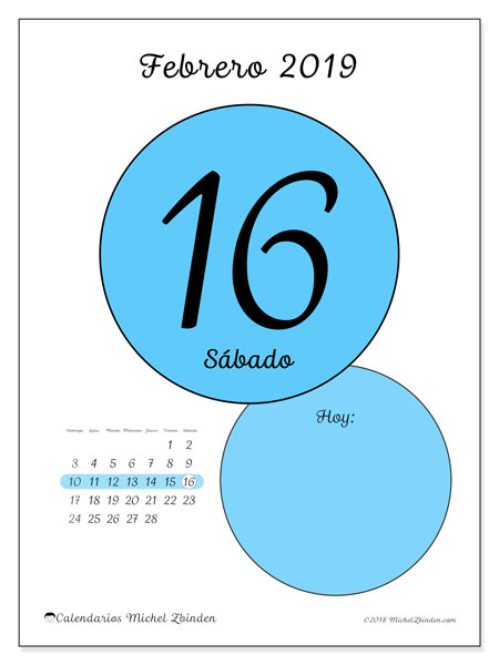 Calendario febrero 2019, 45-16DS. Calendario diario para imprimir gratis.