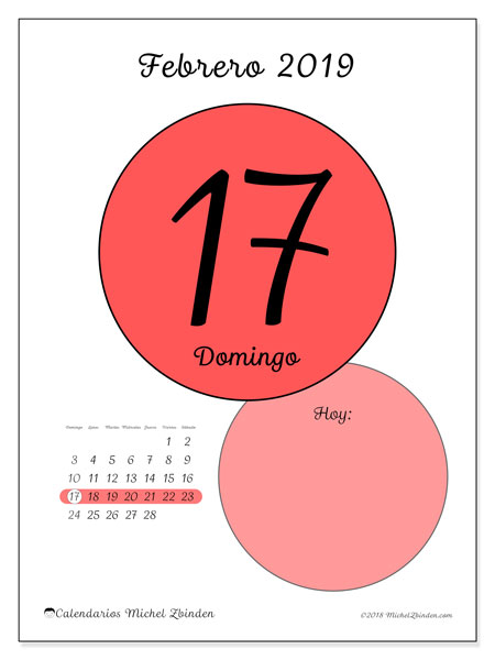 Calendario febrero 2019, 45-17DS. Calendario diario para imprimir gratis.