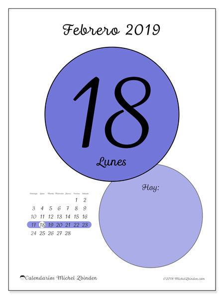 Calendario febrero 2019, 45-18DS. Calendario diario para imprimir gratis.