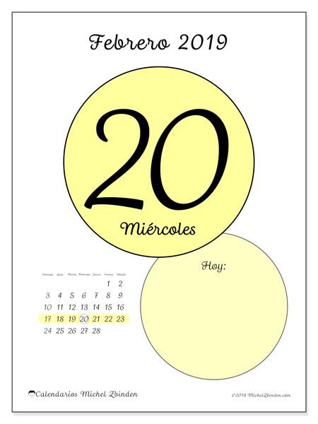 Calendario febrero 2019, 45-20DS. Calendario diario para imprimir gratis.