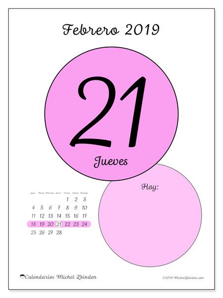 Calendario febrero 2019, 45-21LD. Calendario diario para imprimir gratis.