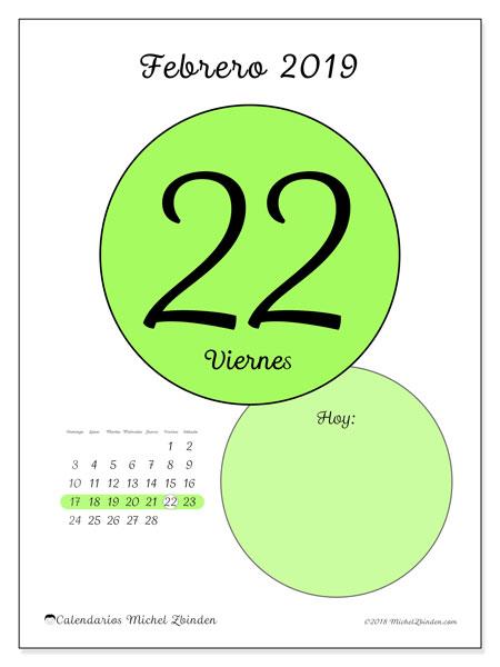 Calendario febrero 2019, 45-22DS. Calendario diario para imprimir gratis.