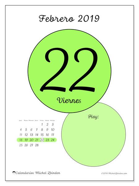 Calendario febrero 2019, 45-22LD. Calendario para el día para imprimir gratis.