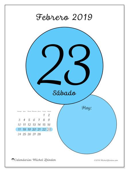 Calendario febrero 2019, 45-23DS. Calendario diario para imprimir gratis.