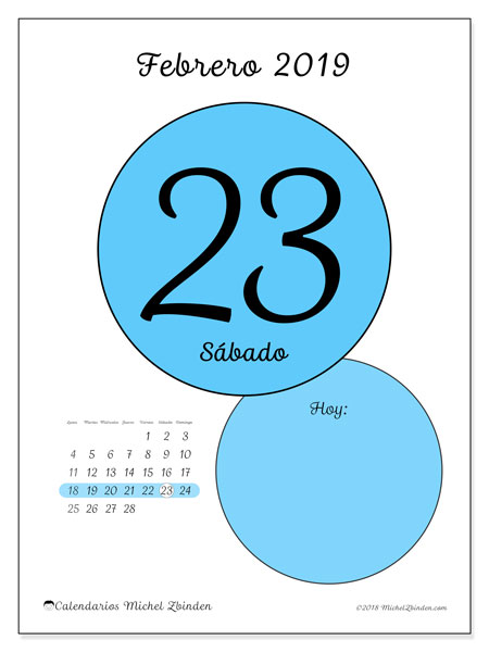 Calendario febrero 2019, 45-23LD. Calendario diario para imprimir gratis.
