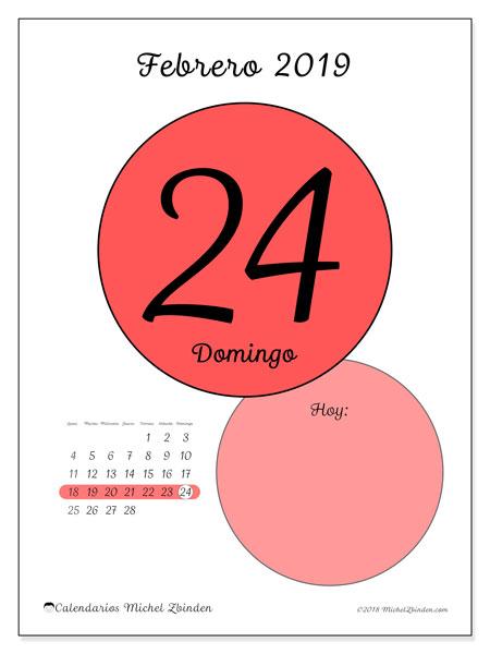 Calendario febrero 2019, 45-24LD. Calendario diario para imprimir gratis.