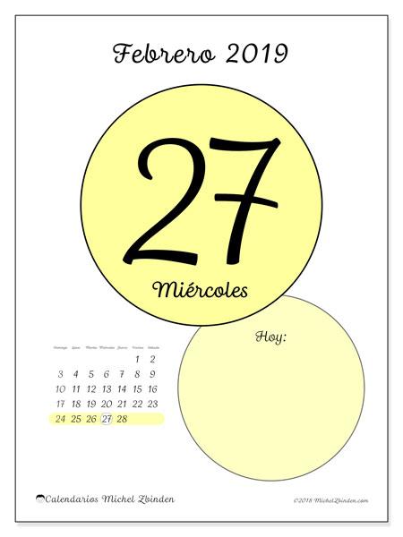 Calendario febrero 2019, 45-27DS. Calendario diario para imprimir gratis.