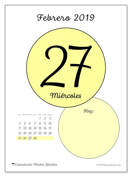 Calendario febrero 2019, 45-27LD. Calendario diario para imprimir gratis.