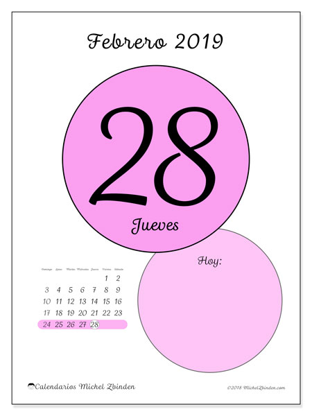 Calendario febrero 2019, 45-28DS. Calendario diario para imprimir gratis.