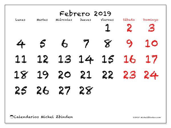Calendario Agosto 2019 Numeros Grandes.Calendario Febrero 2019 46ld Michel Zbinden Es