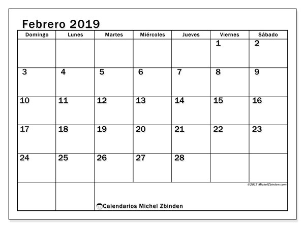 Calendario febrero 2019, 50DS. Calendario para imprimir gratis.