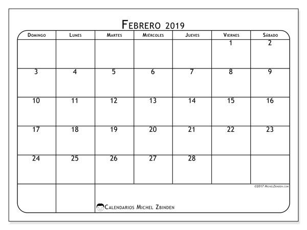 Calendario febrero 2019, 51DS. Planificación para imprimir gratis.