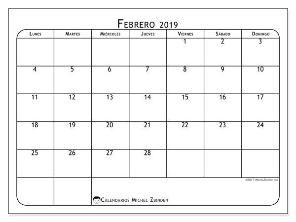 Calendario febrero 2019, 51LD. Calendario imprimible gratis.