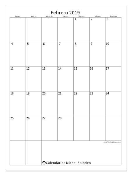 Calendario febrero 2019, 52LD. Calendario para el mes para imprimir gratis.