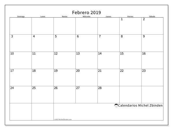 Calendario febrero 2019, 53DS. Planificación para imprimir gratis.