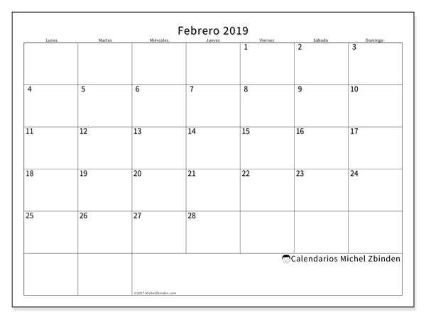 Febrero 2019 Calendario.Calendario Febrero 2019 53ld Michel Zbinden Es