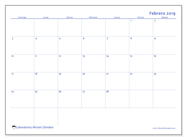 Calendario febrero 2019, 55DS. Calendario gratuito para imprimir.