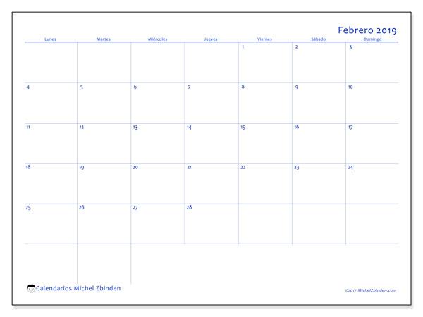 Calendario febrero 2019, 55LD. Calendario gratuito para imprimir.