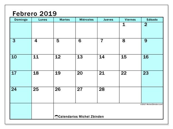 Calendario febrero 2019, 59DS. Calendario gratuito para imprimir.