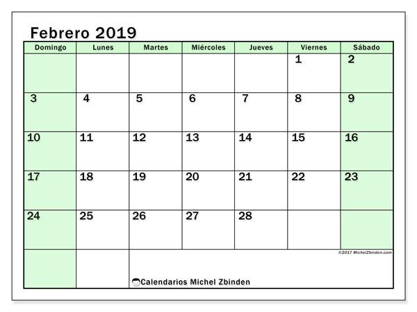 Calendario febrero 2019, 60DS. Calendario mensual para imprimir gratis.