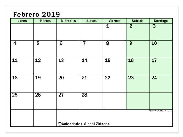 Calendario febrero 2019, 60LD. Calendario para el mes para imprimir gratis.