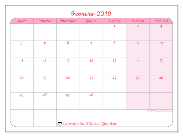 Calendario febrero 2019, 63LD. Calendario imprimible gratis.
