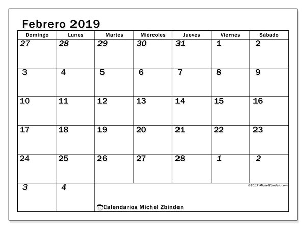 Calendario febrero 2019, 66DS. Calendario imprimible gratis.
