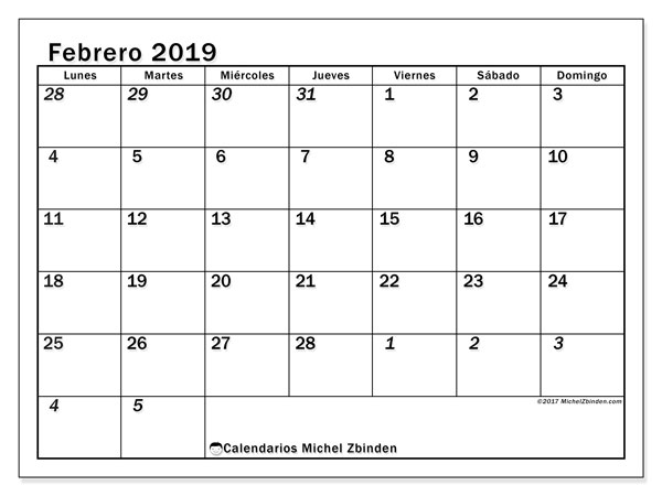 Calendario febrero 2019, 66LD. Calendario imprimible gratis.