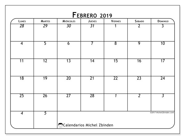 Calendario febrero 2019, 67LD. Almanaque para imprimir gratis.