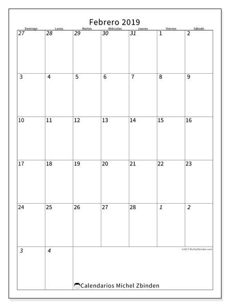 Calendario febrero 2019, 68DS. Calendario para imprimir gratis.