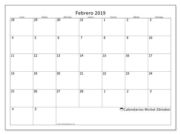 Calendario febrero 2019, 70LD. Calendario mensual para imprimir gratis.
